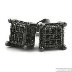 Black Finish Small 360 Cube Micropave CZ Earrings
