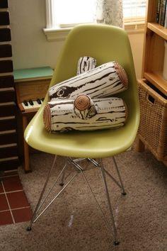 Birch log pillows by myimaginaryboyfriend (via Etsy). Neat project idea.