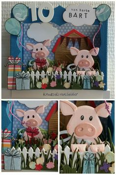 Marianne Design Cards, Pop Up Box Cards, Craft Punches, This Little Piggy, Farm Theme, Animal Cards, Punch Art, Scrap, Kids Cards