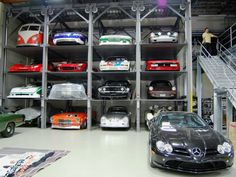 Luxury Garage Design: Grown-up Toy Shelf #dreamgarage #mancave #homeformyhoseltonvehicle