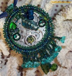 Blue and Teal Steampunk Bead Embroidery Pandant by ChatterBoxHouse, $65.00