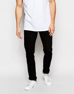 """Jeans by Only & Sons Stretch denim Concealed fly Tapered leg Slim fit - cut closely to the body Machine wash 98% Cotton, 2% Elastane Our model wears a 81cm/32"""" regular and is 185.5cm/6'1"""" tall"""