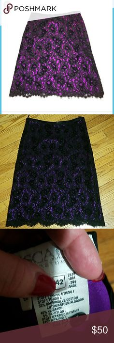 "Escada NWOT black/purple lace skirt Stunning skirt! Size is 42, which equates to an 8 US. Length is 27"", waist is 32"". Zips on side Escada Skirts Midi"