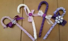 Fabric covered candy canes for purple lovers.