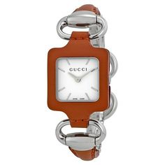 88aa532f529 1921 White Dial Camel Leather and Stainless Steel Bangle Ladies Watch