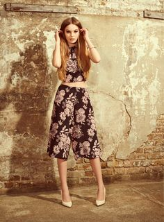 Miss Selfridge AW14. Floral crop top and culottes
