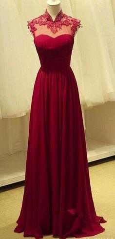 Simple High Neck Lace Prom Dresses,Floor Length Chiffon Evening Dresses,Red Appliques Dresses