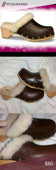 """UGG Australia Kalie Leather w/Shearling Clogs *Size 9, Fashionable Studded Clog *Excellent Condition,  very minimal signs of wear *Dark Brown Leather, Genuine Shearling fur *Solid 1 3/4"""" Wooden Heel, rubber sole *Original Box not included UGG Shoes Mules & Clogs"""