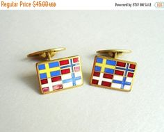 ON SALE Vintage Enamel Cuff Links with by popgoesmyvintage on Etsy