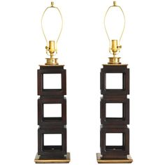 pair of geometic form table lamps - black mahogany wood & brass - edwin cole - usa - 1940/50s -