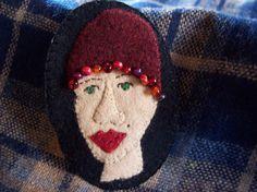 Crazy Hat Lady 1920's Flapper Hat Brooch Felt Pin by rustiquecat