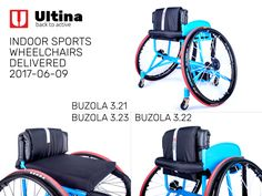 Sports wheelchairs Ultina BUZOLA, made according to the very accurate measurement and with the emphasis on the individual needs of the athletes. Very solid aluminium 7020 frame, Spinergy wheels with X-laced design and high-quality and safe textiles in custom-design. Wheelchairs, Athletes, Gym Equipment, Custom Design, Wheels, Basketball, Textiles, Frame, Sports