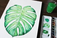 DIY : feuille de monstera à l'aquarelle