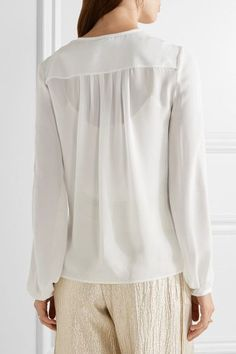 Oscar de la Renta - Lace-trimmed Silk Blouse - Ivory - US14