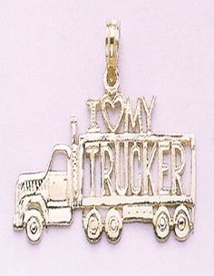 """Amazon.com: 14k Gold Profession Necklace Charm Pendant, I """"""""heart"""""""" My Trucker With T: Million Charms: Jewelry"""