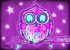 ACEO Print by R Downs Whimsical Owl Midnight Glow Series Card 1