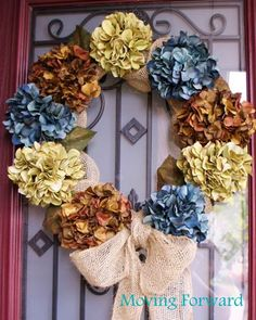 Blogger Margaret Pereira used a wire wreath form and faux hydrangeas to create a floral-themed accent for her front door.