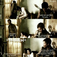 TWD meets Harry Potter. LOL poor Rick I'd be mad too but not for long because just look at Daryl