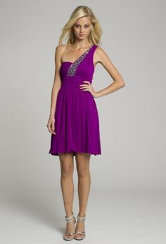 Homecoming and Prom Dresses - One Shoulder Purple Short Dress with Cumberbund from Camille La Vie and Group USA