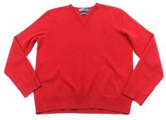 Polo Ralph Lauren Wool Pullover V-Neck Sweater Mens Large L Red Italian Yarn…