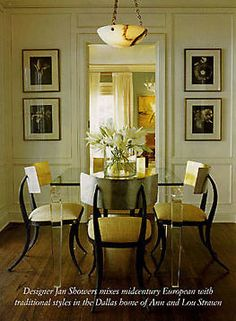 Interior design by Jan Showers...Love the use of the pale yellow. A wonderful dining room.