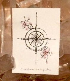 Art Tattoo Original Sheet in ink Rosa de los Vientos