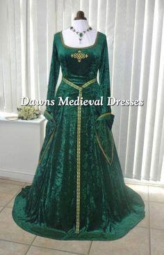 Renaissance Maiden Dark Green /& Gold 3 Piece Poly Satin /& Velour Ladies Costume
