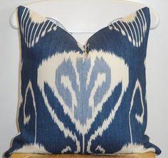 Decorative Pillow Cover - 18x18 - IKAT Pattern - Throw Pillow - Accent Pillow - Kravet - Iris Blue - Light blue - Off White