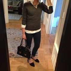 Instagram @headedoutthedoor #ootd | #oldnavy shirt | #gap sweater | BDG jeans via #urbanoutfitters | #chineselaundry flats via #Amazon | #marcjacobs bag via #Bloomingdales | #hm necklace | #jcrewfactory necklace