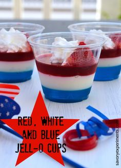 Red, White and Blue JELL-O Cups - refreshing, make ahead and patriotic! make these for your Memorial Day party!  Savory Experiments