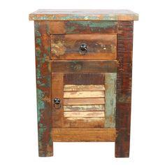EVEREST  Mesa auxiliar estilo industrial nórdico con acabado desgastado. Una puerta y un cajón.  www.decoracionvintage.es