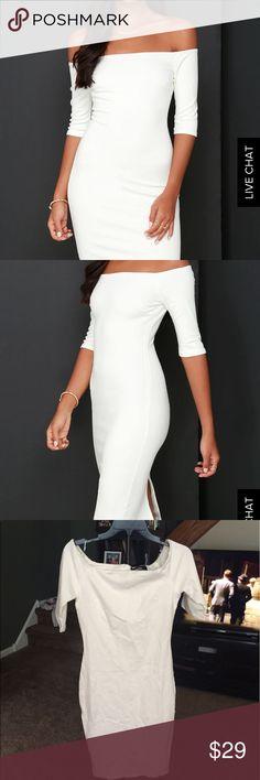 Ivory off the shoulder Midi dress Ivory off the shoulder Midi dress - never worn Lulu's Dresses Midi
