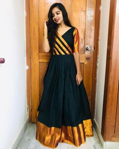 Kurti Designs Party Wear, Lehenga Designs, Saree Blouse Designs, Salwar Designs, Indian Long Dress, Indian Gowns Dresses, Dress Neck Designs, Designs For Dresses, Churidhar Neck Designs