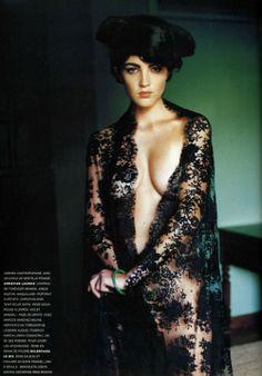 """Carine Roitfeld, editor French Vogue, in a Mario Testino editorial titled """"Séville en mantille"""", November 1995, Vogue Paris"""