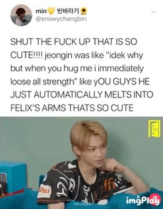 I imagine I would melt into his arms as well 😂😂 - Stray Kids - Info Korea Funny Kpop Memes, Kid Memes, Felix Stray Kids, E Dawn, Lee Know, Kpop Boy, Saranghae, Kpop Groups, Bias Wrecker