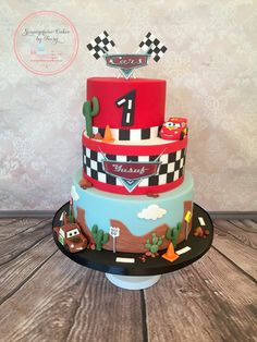 Pixar cars McQueen and Mater cake