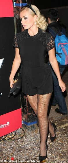 Miaow: Katherine Jenkins dons cat ears as she shows off her shapely legs in playsuit to see Kelly Brook in Crazy Horse cabaret Tights And Heels, Black Tights, Katherine Jenkins, Kelly Brook, Crazy Horse, Dancing With The Stars, Celebs, Celebrities, Playsuit
