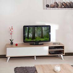 Meuble TV bas avec 1 abattant et 2 niches TORSTEN port offert