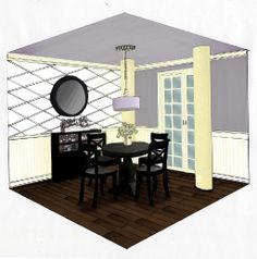 Hand Drawn Perspective Rendering   dining room perspective 2 pt perspective hand sketched and rendered in ...