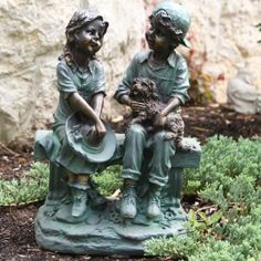 Alpine Girl and Boy Sitting on Bench with Puppy Garden Statue, this incredibly realistic statue features a boy and girl sitting on bench, will bring back memories of childhood and days gone by.