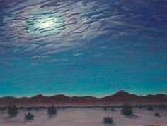 8x10 Cosmic Moon Original Landscape by ClearLightStudios on Etsy, $168.00