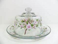 Apple Blossom Cheese Dome Serving Plate Hand Painted. $40.00, via Etsy.
