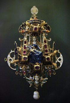 Pendant, Hungary, 16c  Hungarian National Museum.  That is the steampunkiest Virgin Mary I have ever seen!