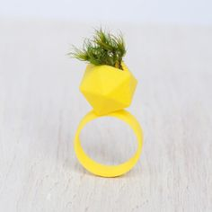 Icosahedron Wearable Planter Ring 3d printed wearable planter ring, (selective laser sintering)