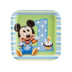 Disney Mickey's 1st Birthday Dessert Plates from BirthdayExpress.com