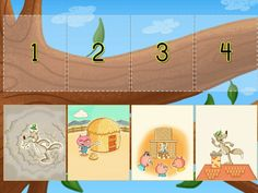 Sequencing The Three Little Pigs - Reading Comprehension Help kids master reading comprehension with this sequencing game. This applies to concepts of print because it is helping the users understand that every sentence has a meaning. Literacy Games, Learning Games, Emergent Literacy, Writing Games, Writing Letters, Free Online Preschool Games, 3 Little Pigs Activities, Sequencing Pictures, Abc Phonics
