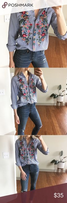EMBROIDERED Blue Stripe Button Down Flower power is still the name of the game, babes! Your blouse game is about to be significantly elevated by this blue striped blouse featuring floral embroidery that adds a pop of color. Wear with white jeans and espadrilles for a weekend away or dress up for work with black jeans and a blazer.   Brand new boutique item with tags. ** TAGGED FOR VISIBILITY ** Collage image for outfit inspo only - not the actual item. **  ✨ Offers welcome, 20% off bundles…
