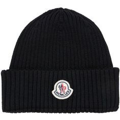 Moncler Men Logo Reverse Wool Hat (€115) ❤ liked on Polyvore featuring men's fashion, men's accessories, men's hats, black, mens wool hat and mens hats