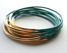 Turquoise Leather Bangle Bracelet with Gold Accents-Boho Bracelet, Bohemian Jewelry, Wrap bracelet, stackable bracelets