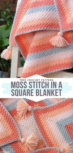 How to Crochet Moss Stitch in a Square Blanket - - Touch of Peach Baby Blankets are here! We, crocheters, love nothing more than mixing colors, right? With this in mind, we have created today's selection. Crochet Afghans, Crochet Baby Blanket Free Pattern, Crochet Stitches Patterns, Knit Crochet, Knit Squares Blanket, Simple Crochet Blanket, Crochet Baby Blanket Patterns, How To Do Crochet, Baby Afghan Crochet Patterns